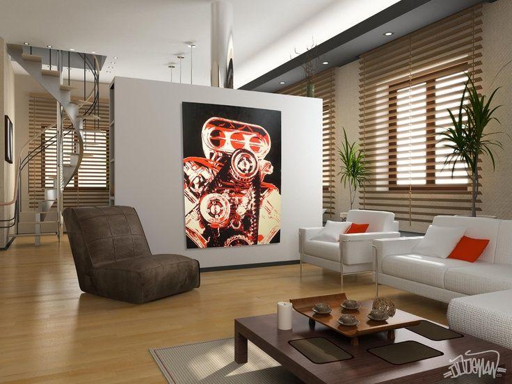pop art, engine, design , living room, simple, minimalist ...