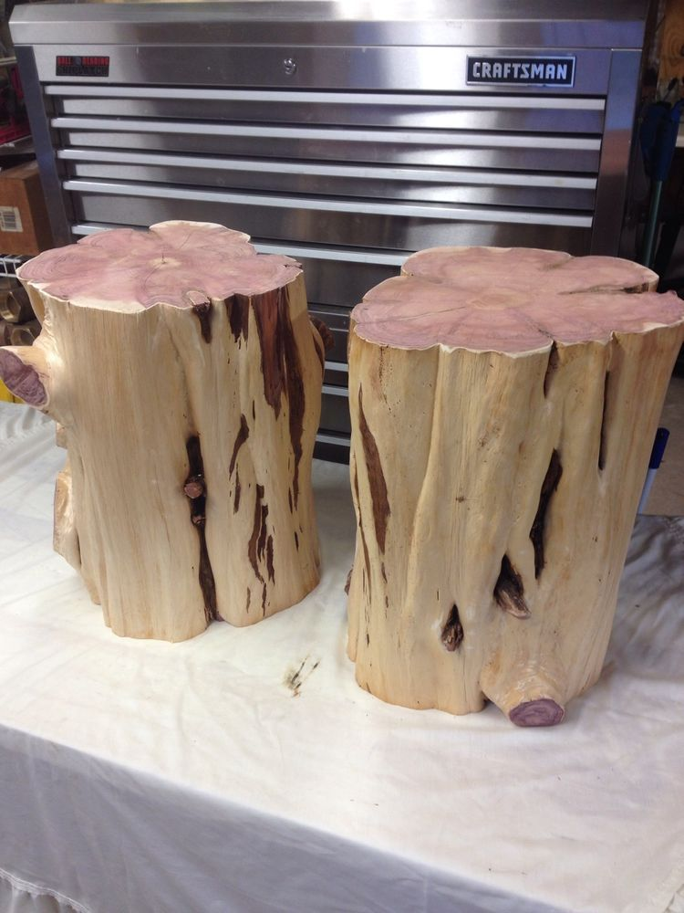 A Pair Of Cedar Stumps For Table Stool Bar Kitchen End Coffee Wood Tree  Stump #