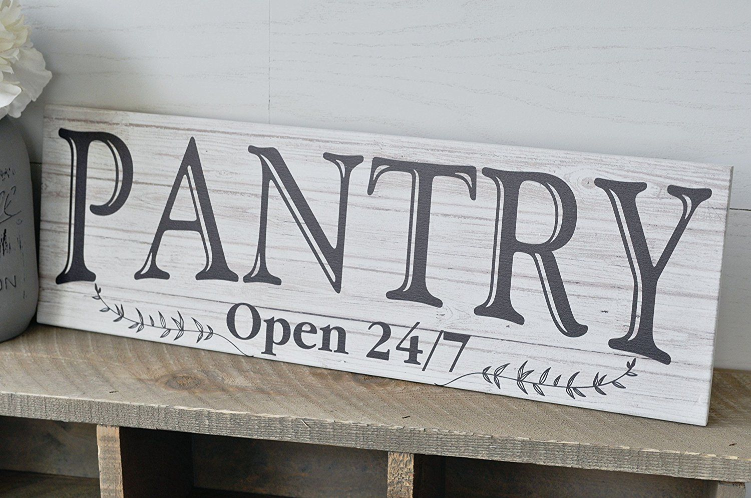 Pantry Open 24/7 White Rustic Wood Wall Sign 6x18, Rustic, Farmhouse on 10x14 kitchen design, 11x14 kitchen design, 10x12 kitchen design, 10x20 kitchen design, 9x12 kitchen design, 8x8 kitchen design, 10x15 kitchen design, 8x14 kitchen design, 12x12 kitchen design, 8x10 kitchen design, 6x6 kitchen design, 12x18 kitchen design,