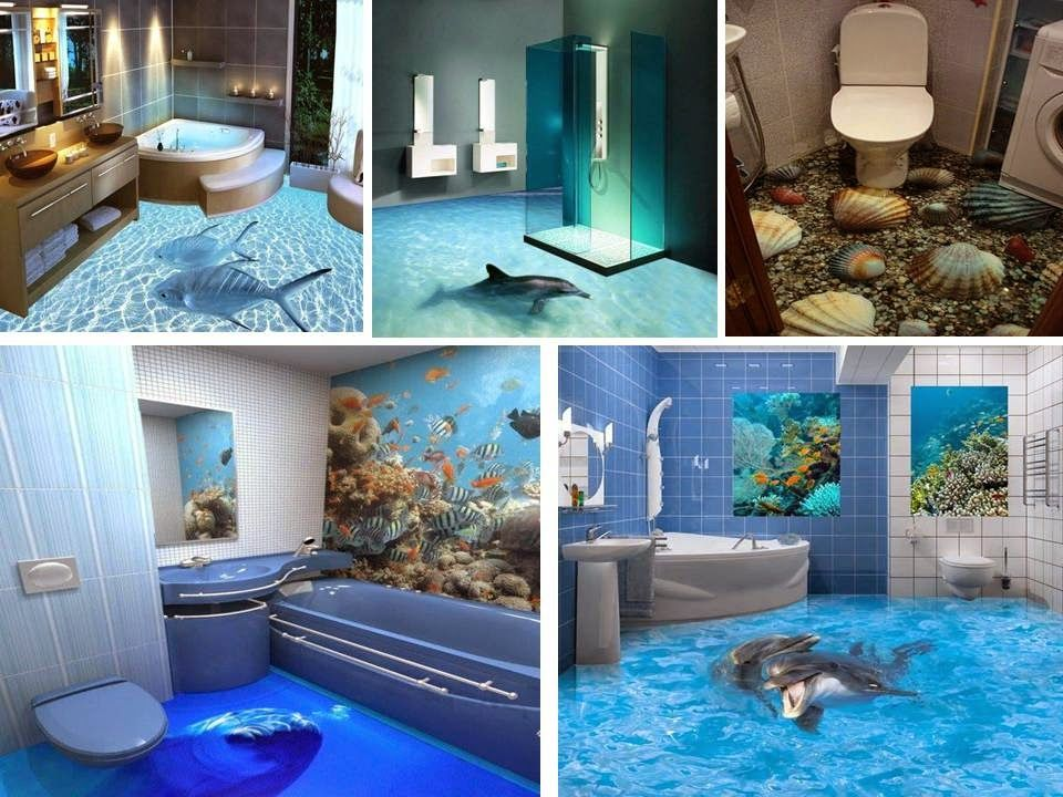 Home Decor Fantastic Bathroom 3D Floor Design Ideas  Ideas For Amazing 3D Bathroom Designs Decorating Inspiration