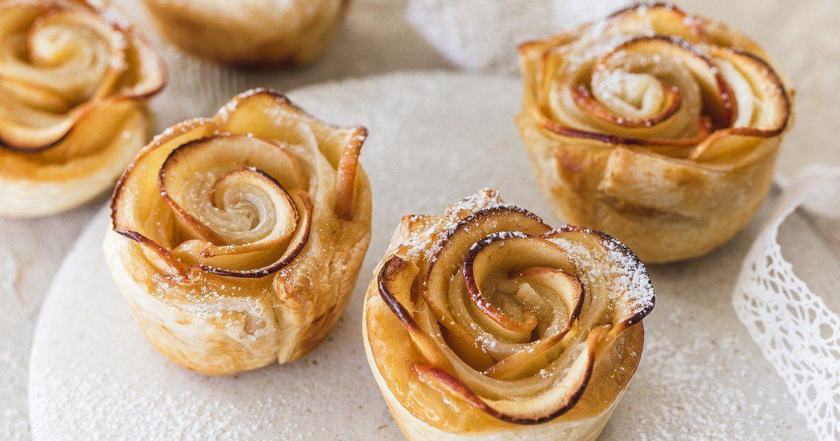 Apfelrosen – das schnelle Rezept mit Blätterteig | Die besten Backrezepte mit Gelinggarantie