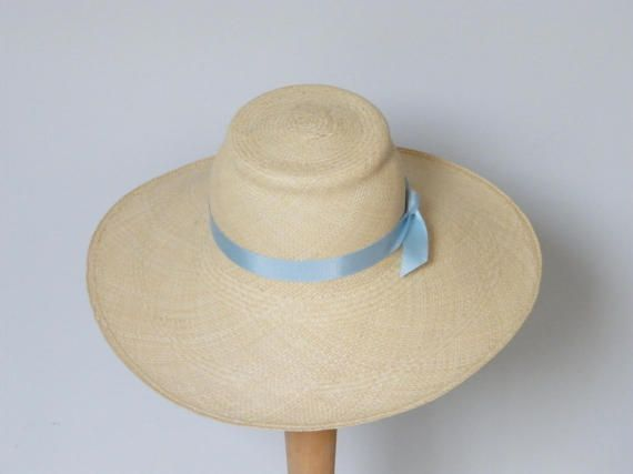 673a66fd284ab8 Panama sun hat / long brim summer hat for women / sun protection hat /  Audrey Hepburn hat made in Israel