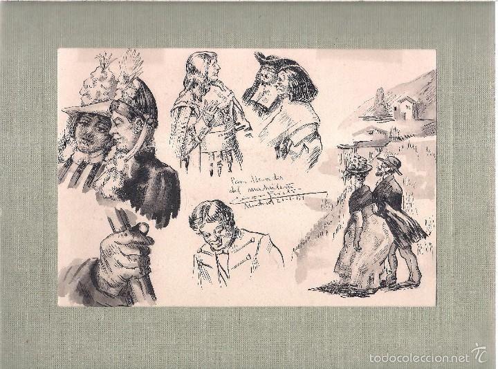 Dibujo a tinta de personajes de época, dedicado por el autor Cesar Prieto, fechado en Madrid 210151