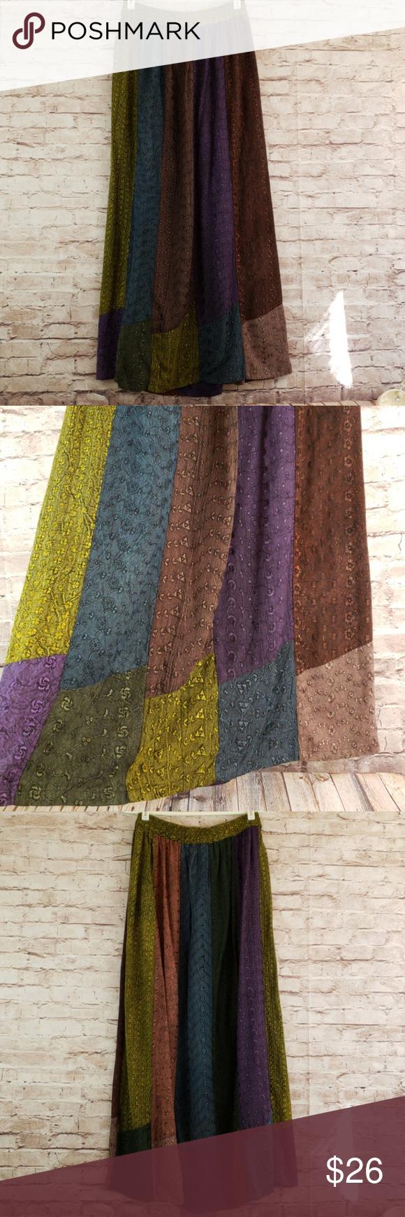 9aa420d369 Sacred Threads Boho Maxi Skirt Sacred Threads patchwork eyelet maxi skirt  with elastic waist size S/M Sacred Threads Skirts Maxi
