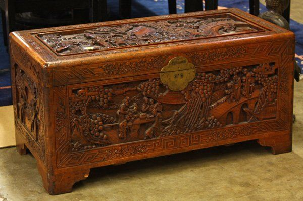 Carved Wood | 4111: Chinese Carved Camphor Wood Chest : Lot 4111