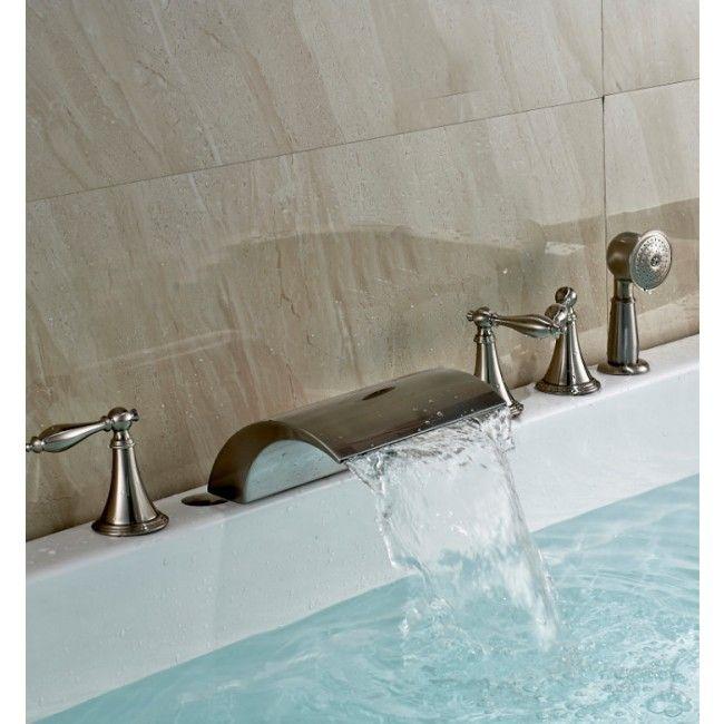 Juno Baris Brushed Nickel Finish Roman Tub Faucet Mixer Tap With