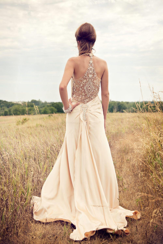 Champagne beaded s inspired wedding dress reception dress