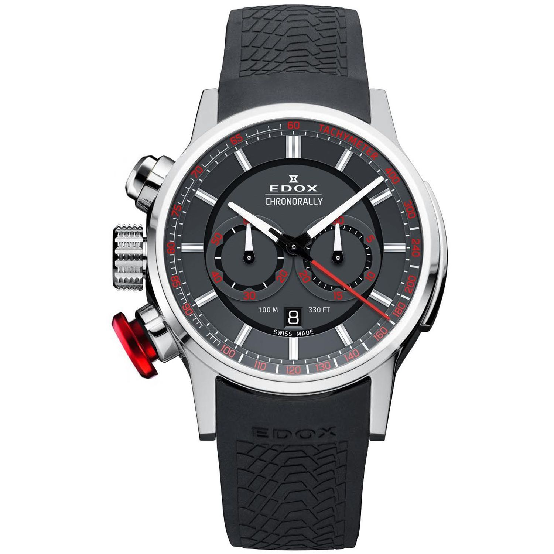 Edox 10302 3 GR3 Mens Chronorally Gray Quartz Watch