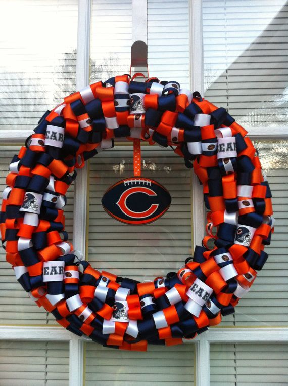 "Photo of Items similar to Chicago Bears Ribbon Wreath 16 ""on Etsy"