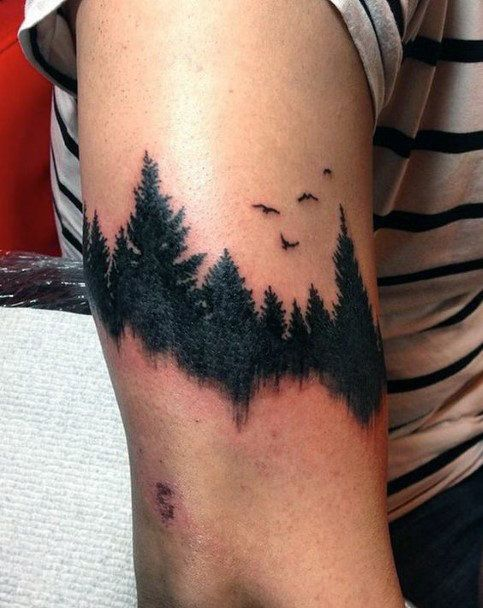 Black Work Forest With Birds And Lake Reflection Upper Arm ...