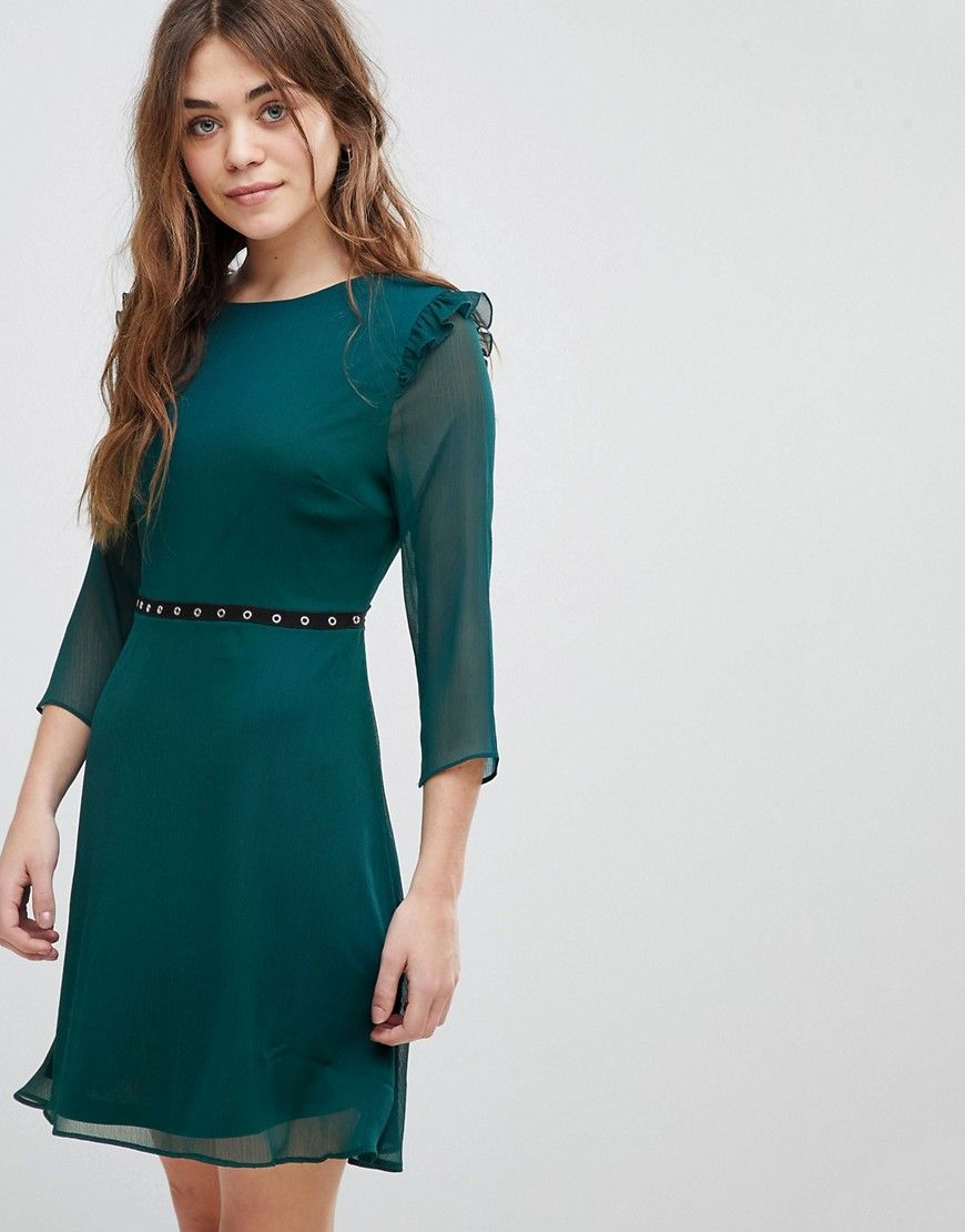 New look eyelet trim skater dress green products pinterest