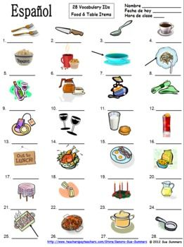 Spanish Food Vocabulary / Table Vocabulary 28 Image IDs - La Comida ...