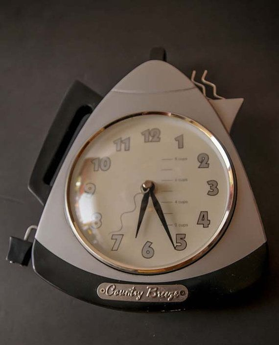 Retro Coffee Pot Wall Clock By Country Breeze Hanging Kitchen Vintage