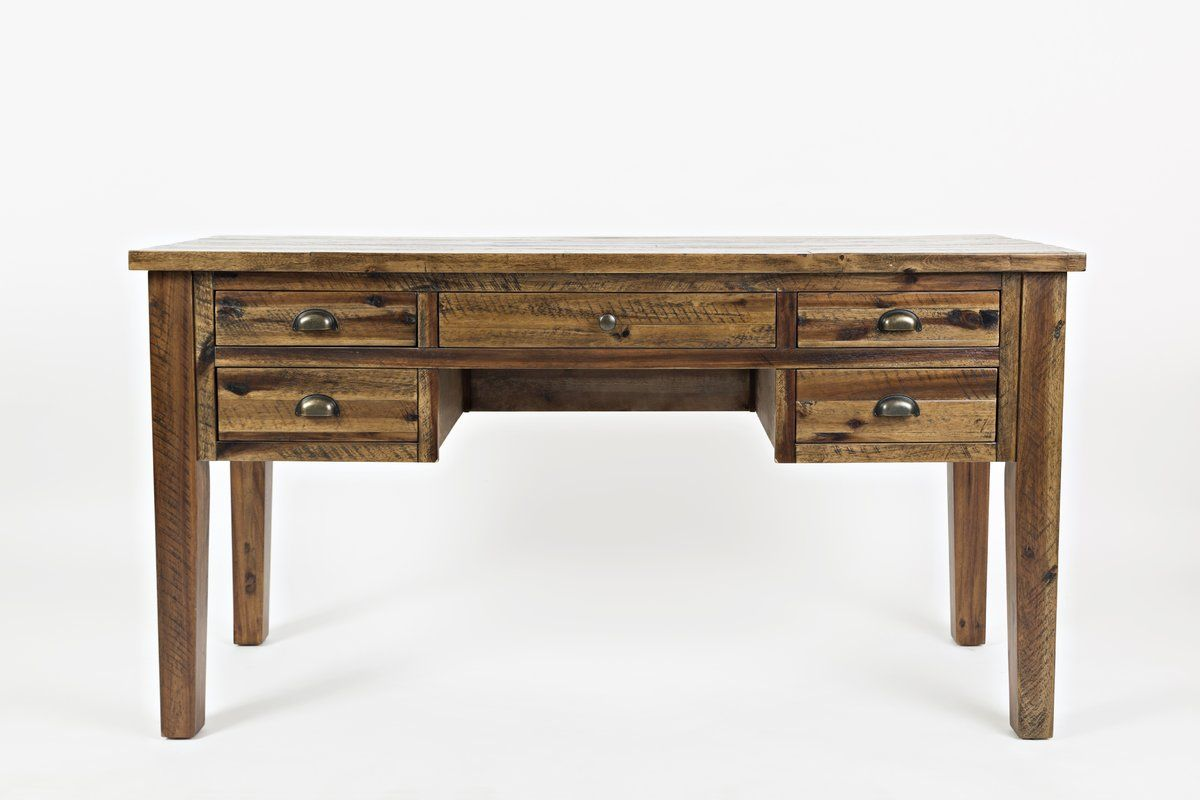 Wellston Writing Desk In 2020 Desk With Drawers Solid Wood Writing Desk Wooden Desk