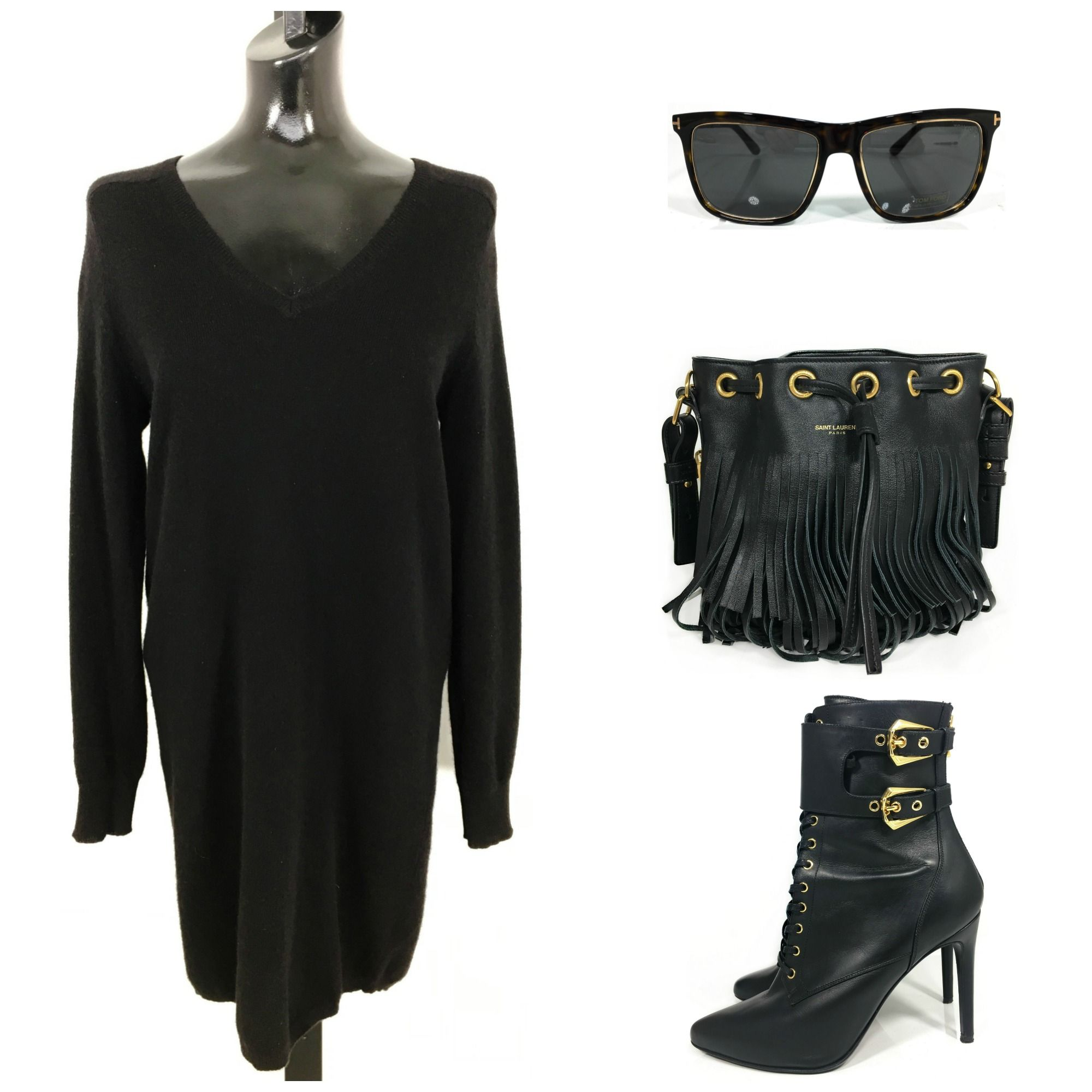 175c30087961 360 Cashmere Sweater Dress (S)  98  Tom Ford Sunglasses  298  Saint Laurent  Black Bucket Bag  798  Balmain Lace Up Booties (IT 38.5)  448