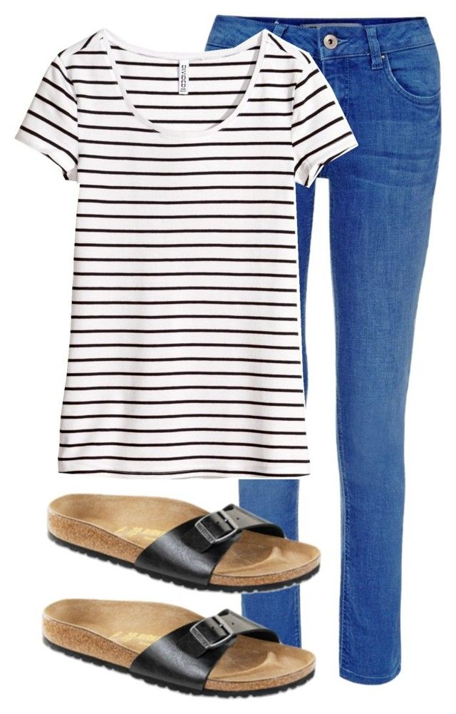 """Untitled #4799"" by beautifuleleanorjane ❤ liked on Polyvore featuring H&M and Birkenstock"