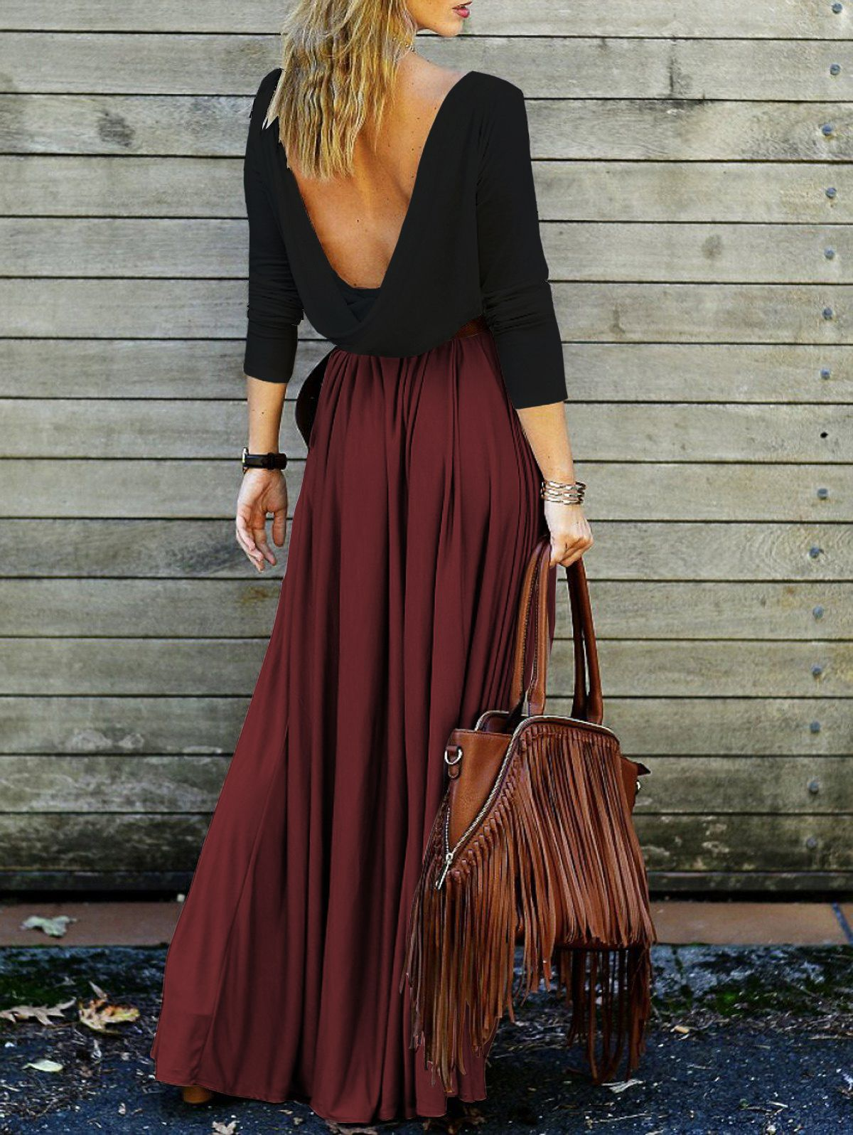 Alluring long sleeve maxi draped open back dress red with black