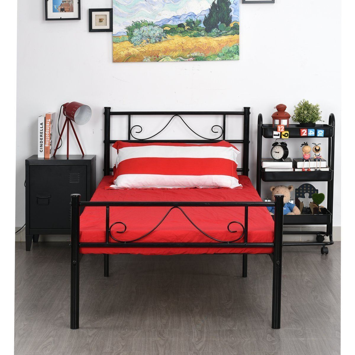 AmazonSmile GreenForest Twin Size Metal Bed Frame with