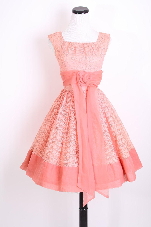 Reserved - 1950s Dress / Mad Men Dress / 50s Dress / Coral / Dress ...