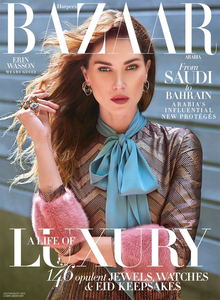 fd3e502bd Erin Wasson Wears Gucci Looks for Cover Story of Harper's Bazaar ...