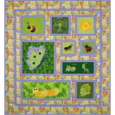 Baby Bugs Quilt Pattern with cute bugs! http://www.victorianaquiltdesigns.com/VictorianaQuilters/PatternPage/BabyBugs/BabyBugs.htm #quilting #baby #bugs