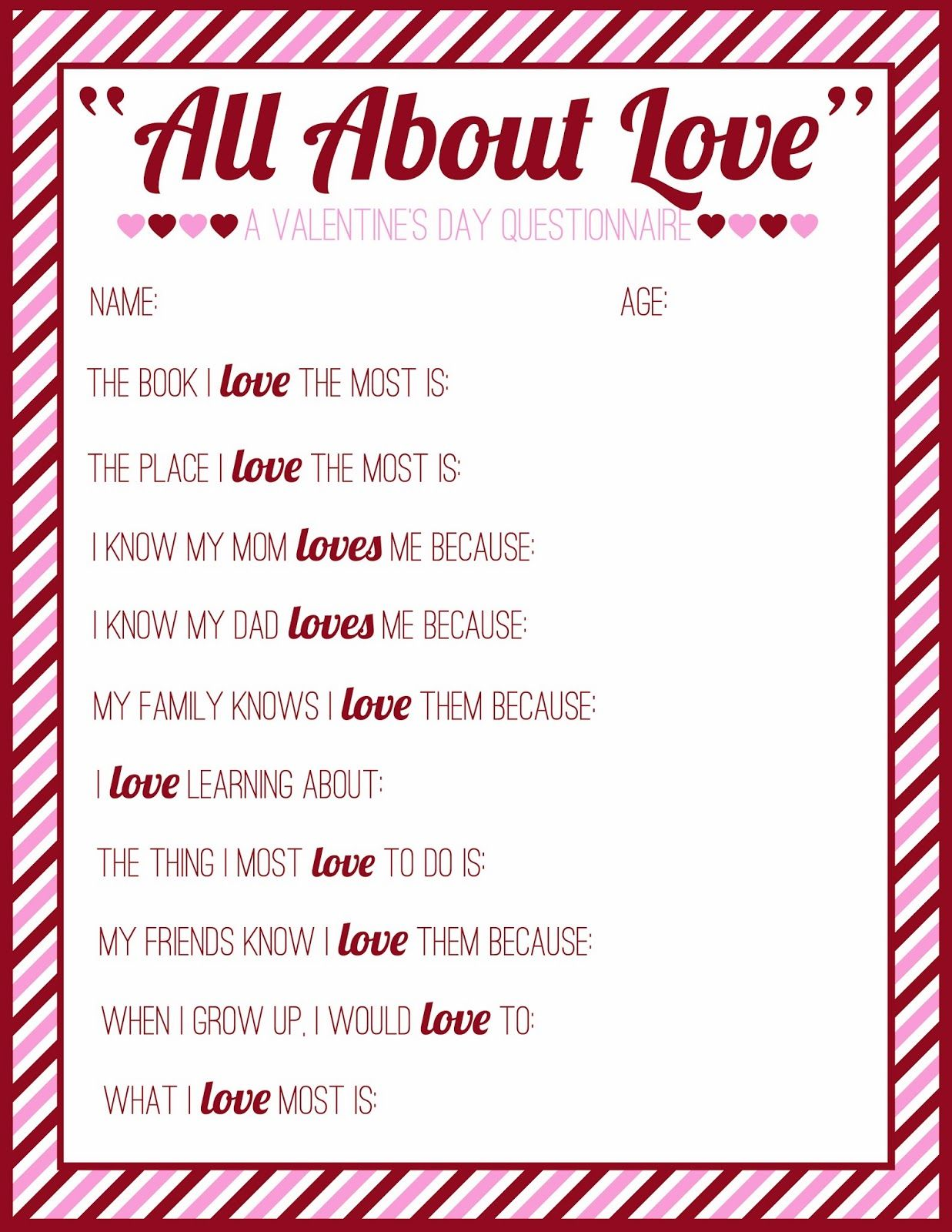 Free Printable Valentine S Day Questionnaire