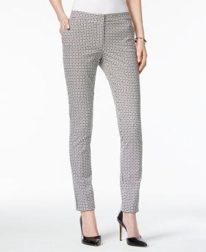 Alfani Petite Printed Skinny Pants, Only at Macy's - Gray 10P