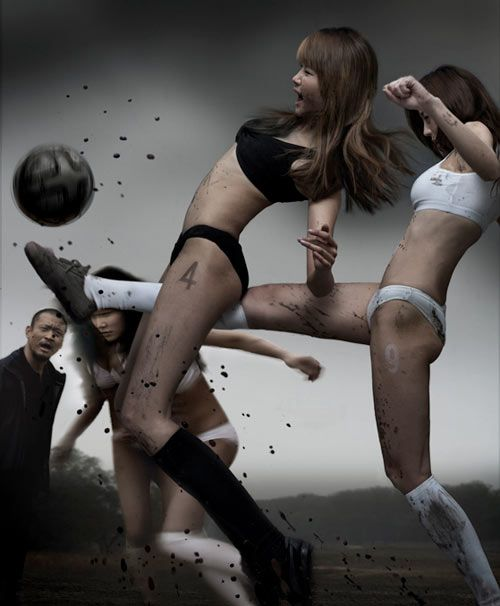 Sexy girls playing football