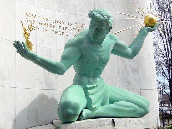 The Spirit of Detroit Statue, Coleman A. Young Municipal Center, Detroit, Michigan (1958) by Marshall Fredericks