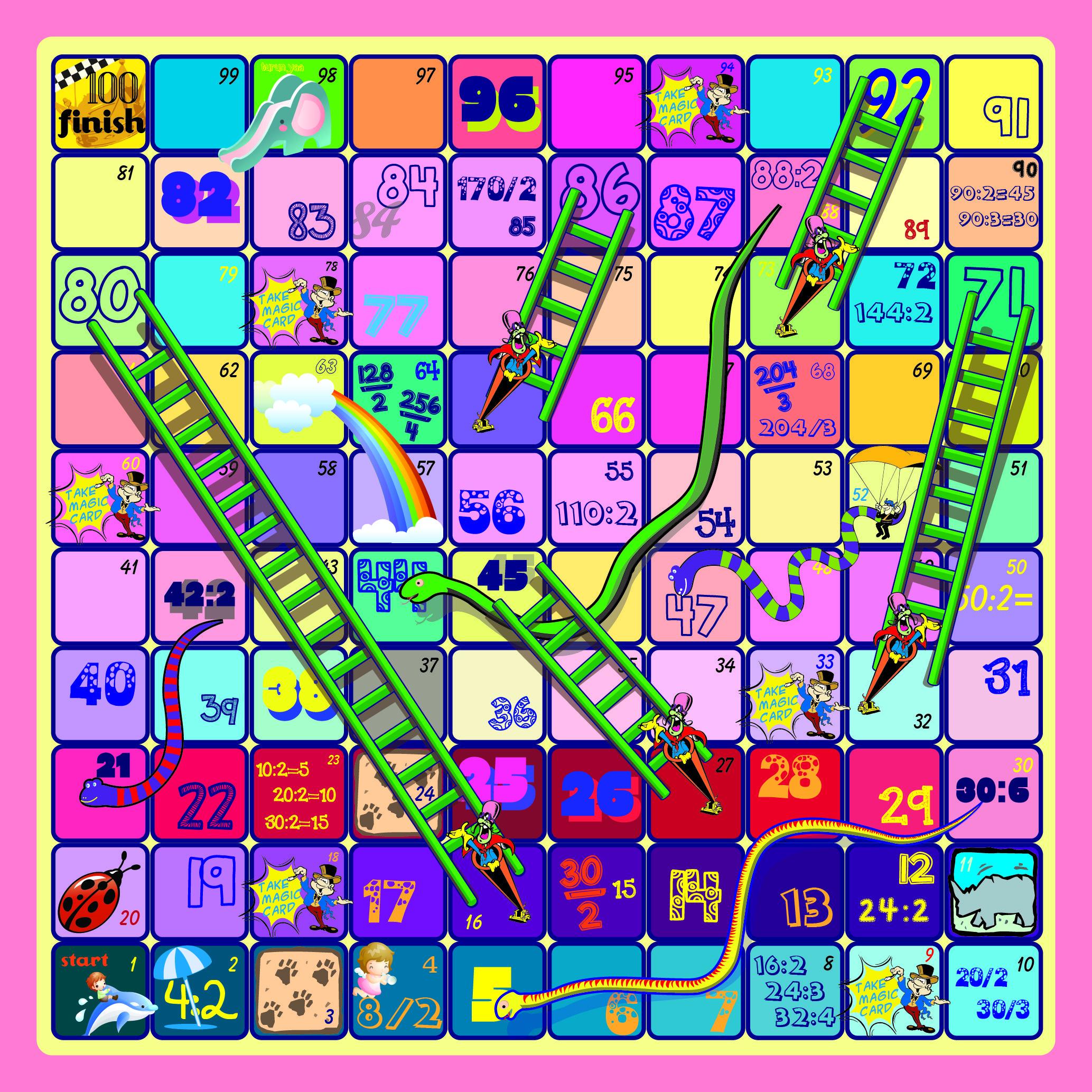divided snake ladder a k a ular tangga pembagian artwork play games toy