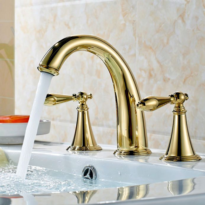Modern Gold Finished 3 Hole Bathroom Basin Mixer Sink Faucet Taps