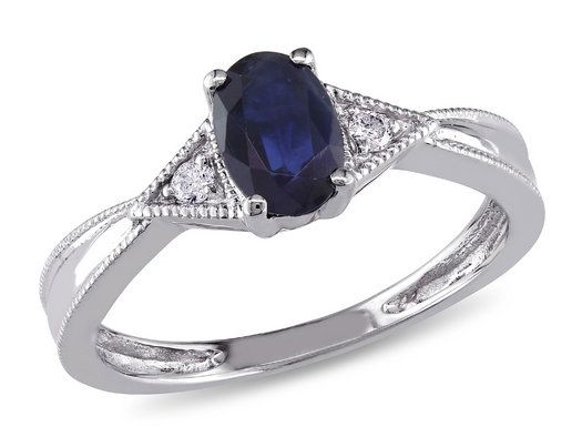 Sapphire and Diamond Ring 3/5 Carat (ctw) in 14k White Gold