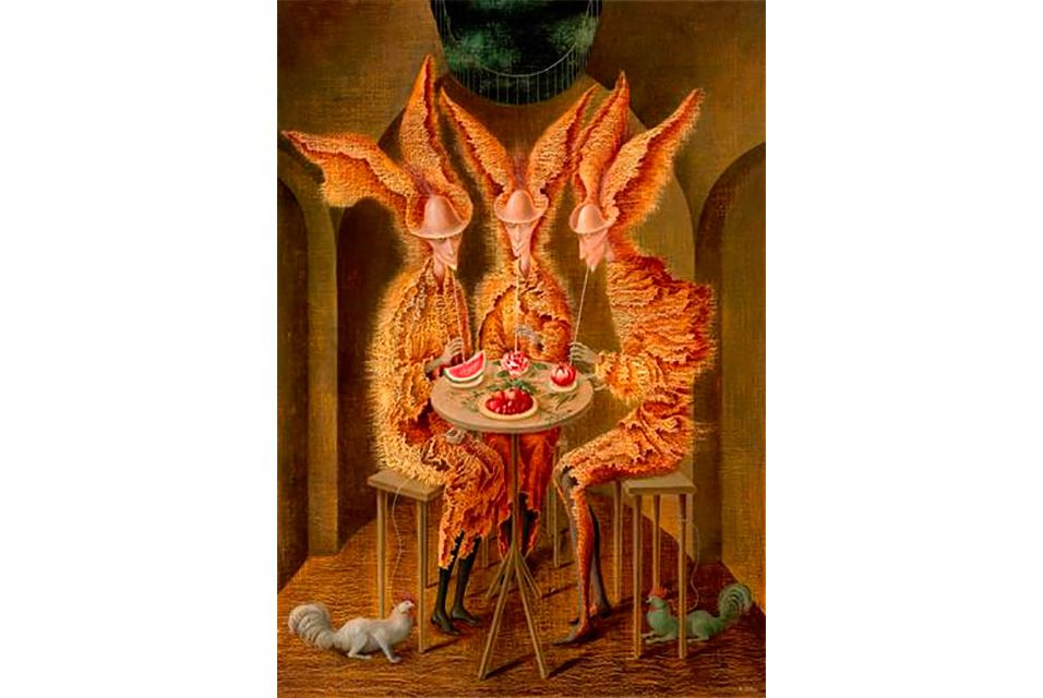 Remedios Varo (Spanish/Mexican 1908-1963), Vampiros vegetarianos. Oil on canvas. Painted in 1962