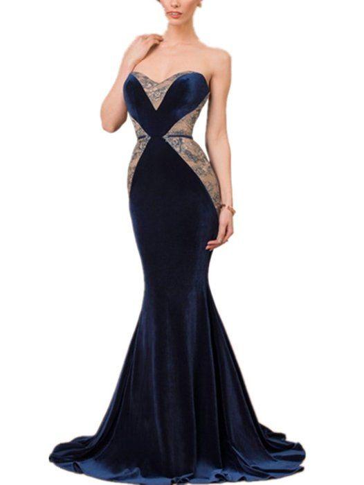 Newdeve Sweetheart Strapless Mermaid Silhouette Navy Blue Velvet ...