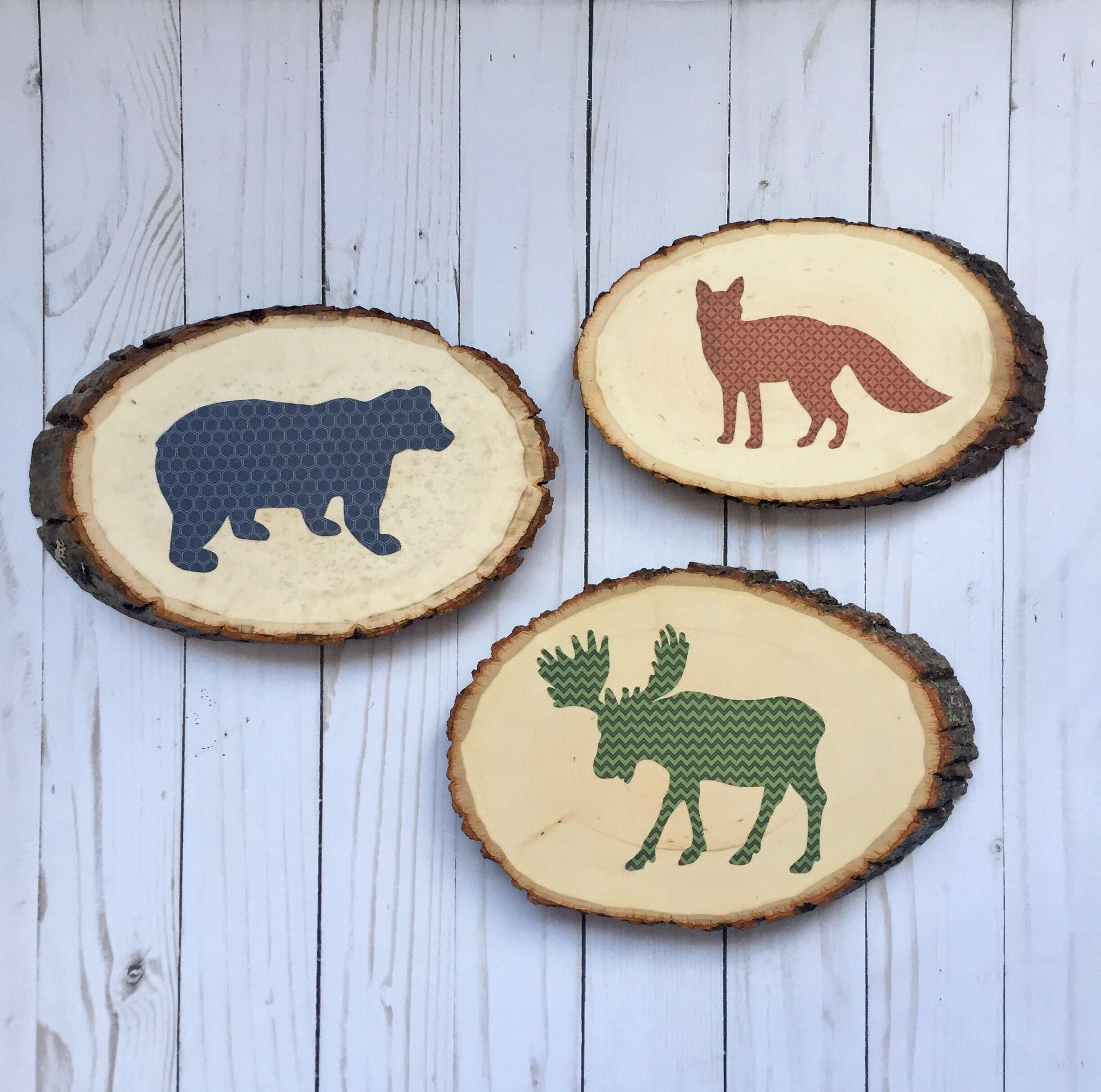 Wood slice wall art for the woodland nursery sy
