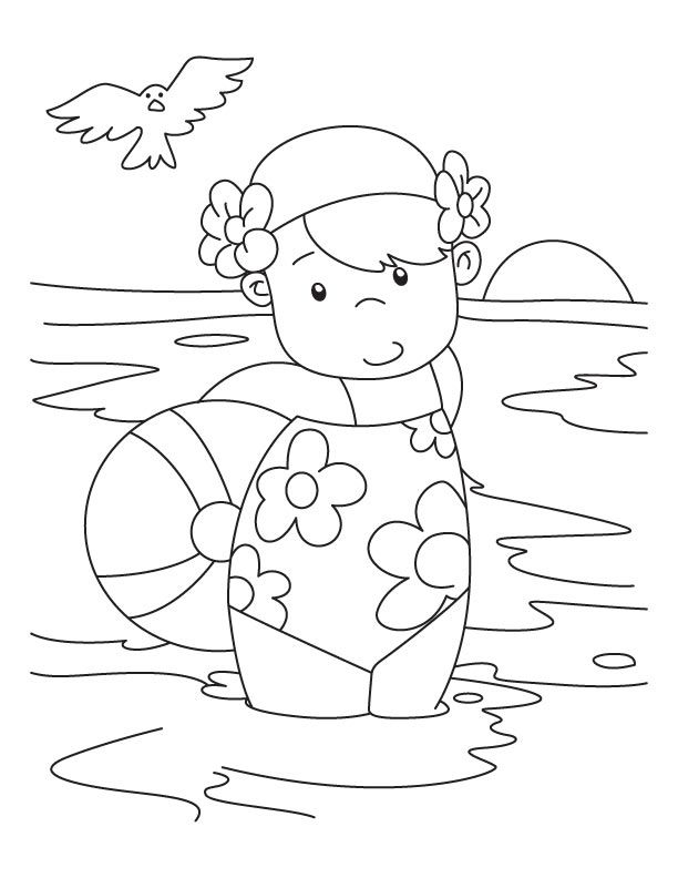 A Girl With Beach Ball Coloring Pages