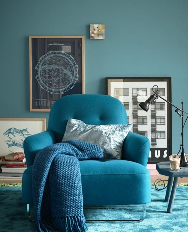 wohnen mit farben - wandfarbe rot, blau, grün und grau | wände - Wohnzimmer Farbe Blau