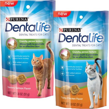 Purina Dentalife Variety Pack One 1 Tasty Chicken And One 1 Savory Salmon Flavor Dental Treats For Cats 1 8 Oz Pouches Dental Treats Purina Dental