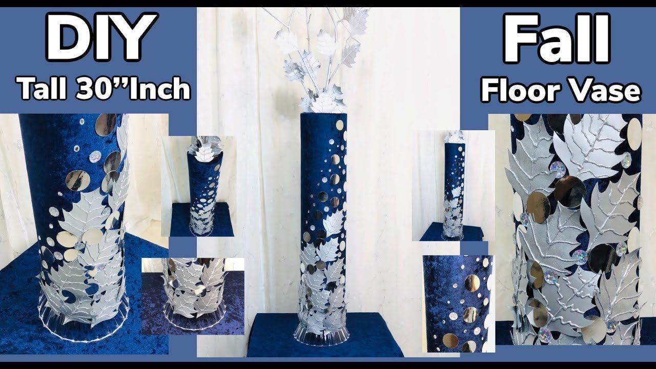 Dollar Tree Walmart Diy Fall Leaves 30 Inches Tall Glam Floor Vase 2019 Withme Youtube In 2020 Walmart Diy Diy Fall Diy Vase