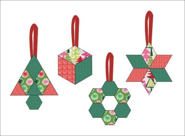 English paper pieced ornaments - English Paper Pieced Ornaments Crafty Ideas Christmas, Christmas