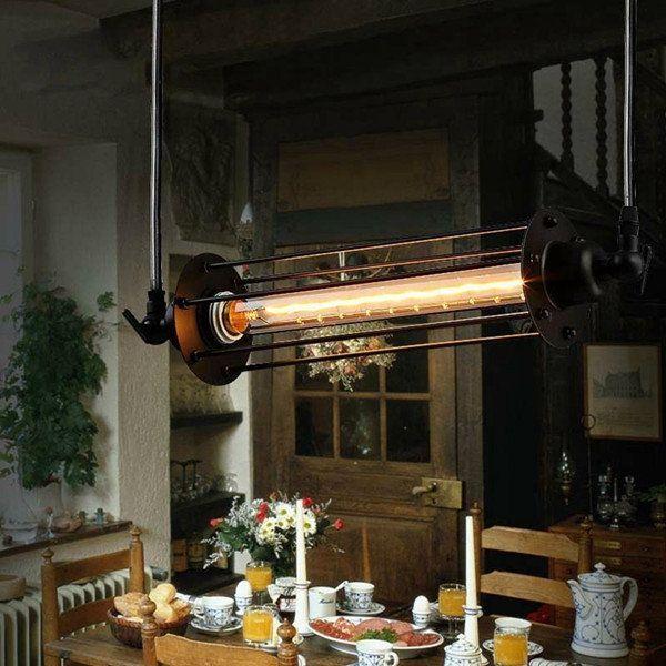 Industriel rétro vintage flûte suspension lampe barre de cuisine suspendu plafonnier Sale - Banggood Mobile