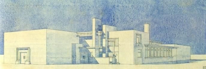 J. J. P. Oud - Project for a factory, 1919. Pencil and watercolour.