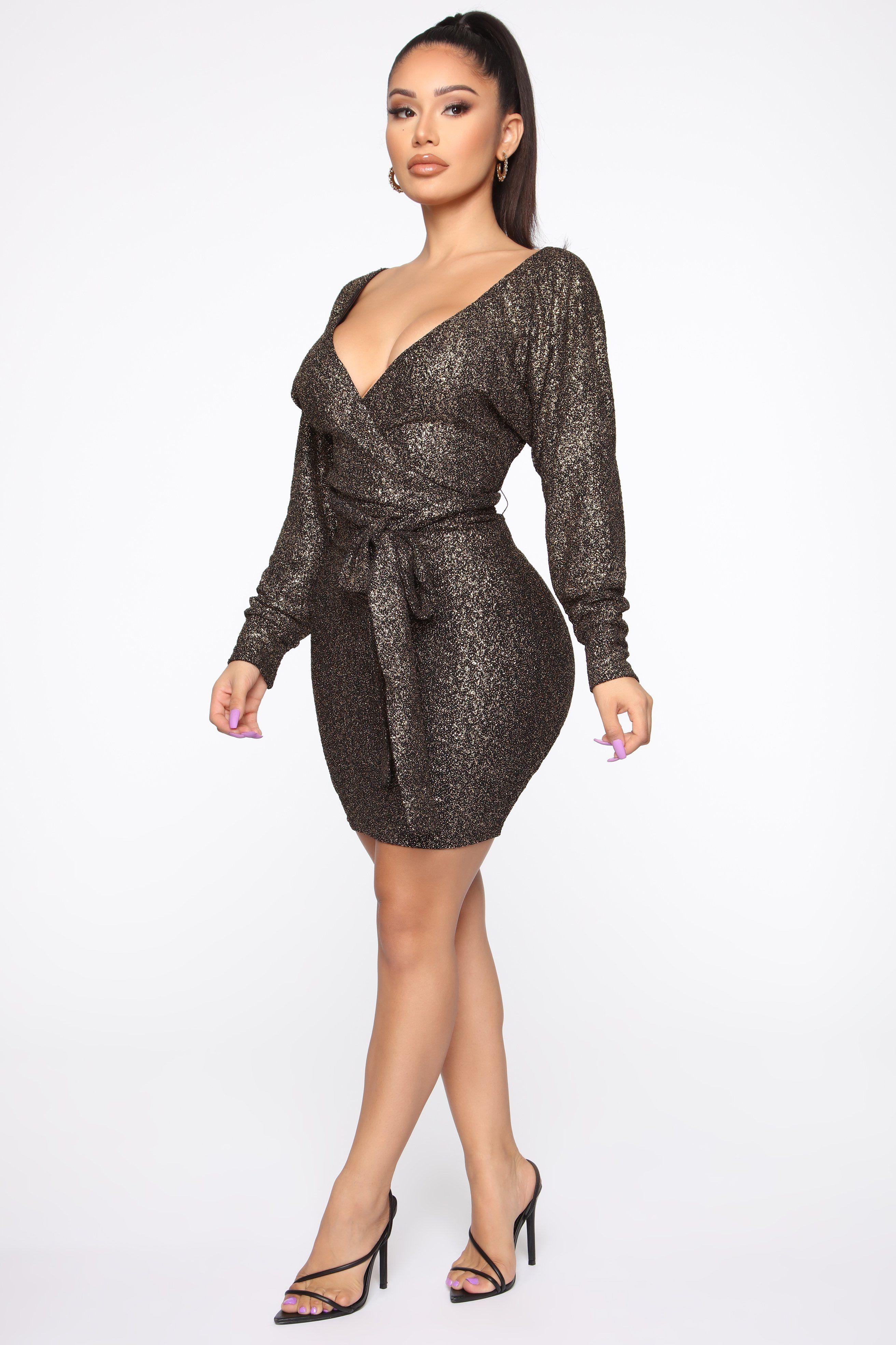 Time For My Date Mini Dress Gold Metallic knit dress