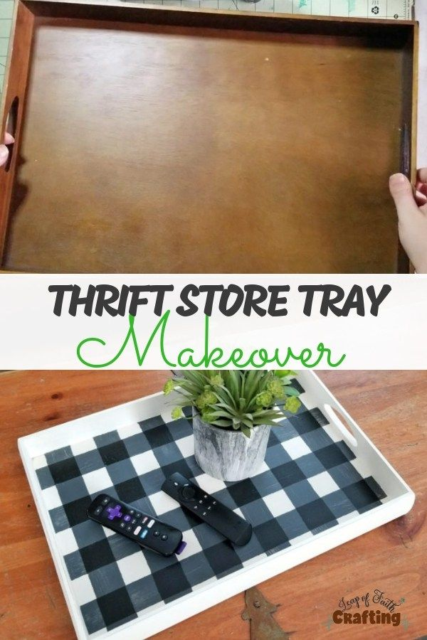 How To Paint Buffalo Plaid on Thrift Store Find! - Leap of Faith Crafting