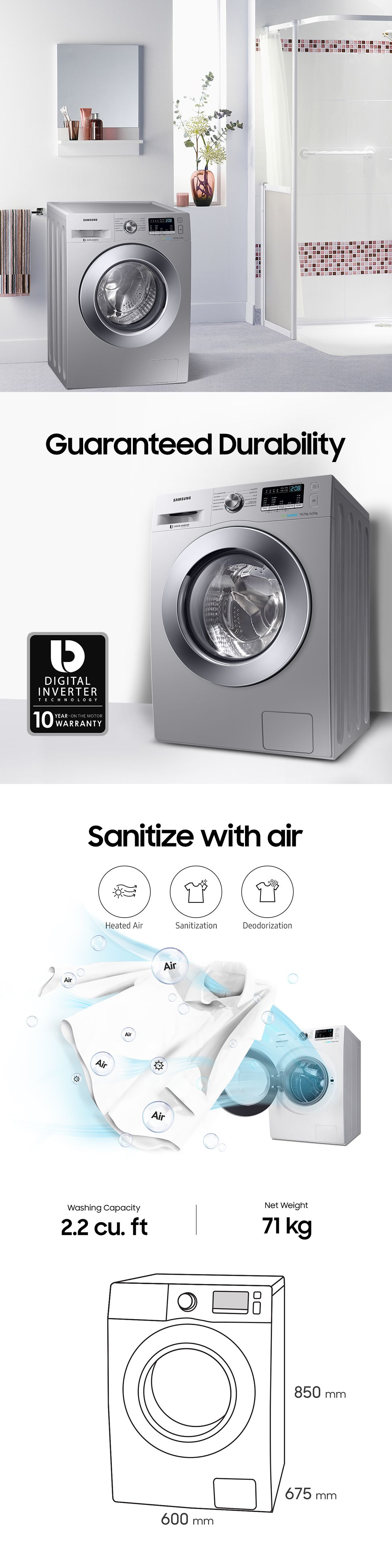 A Digital Inverter Motor Delivers Superior Energy Efficiency Minimal Noies And Exceptionally Long Samsung Washing Machine Energy Efficiency Samsung Appliances