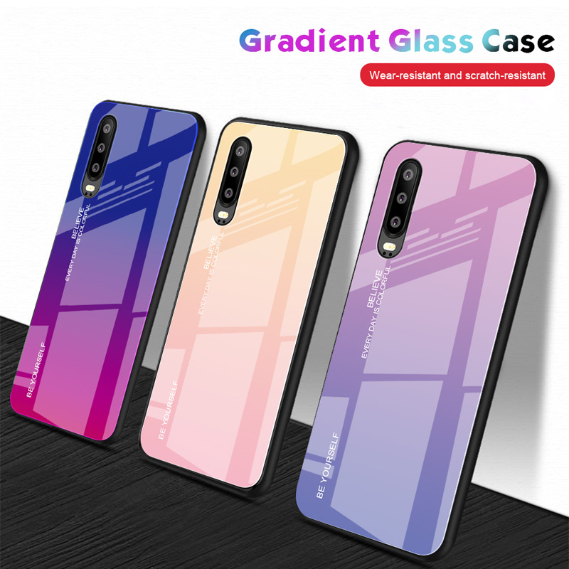 New Gradient Tempered Glass Phone Case For Huawei P20 Lite P30 Pro P Smart 2019 Honor 8x 10 9 Lite Nova 3i 3 4 Mate 20 10 Cover In 2020 Phone Cases Case Huawei Case