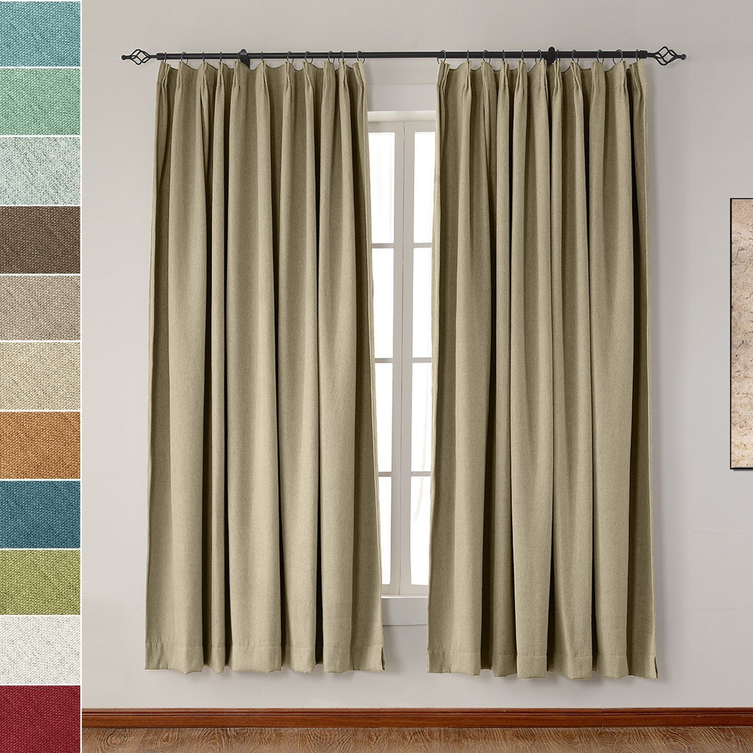 Amazon Com Extra Wide Heavyweight Luxury Faux Linen Curtain 120 W X 102 L Pinch Pleat Drapery Panel For Traverse Rod Linen Curtains Curtains Luxury Curtains