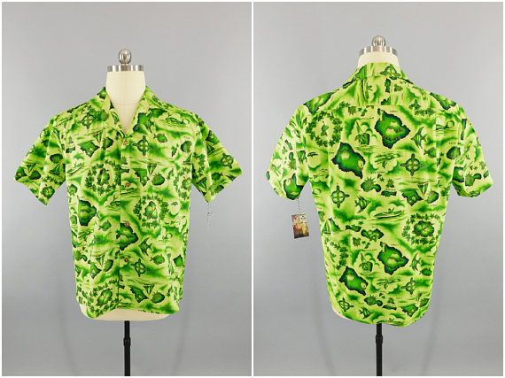 a9abc3a94 Vintage 1950's Hawaiian Shirt / 1960s Ui-Maikai / Cotton Hawaiian Print Aloha  Shirt / Lime Green Hawaii Shirt Menswear Tiki / Size XL 46
