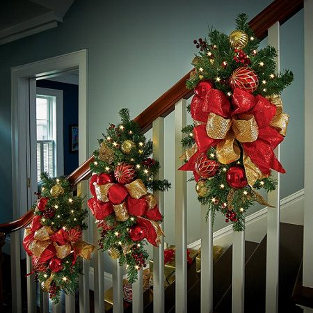 Madison lighted staircase christmas swag red and gold - Christmas decorations for stair rail ...