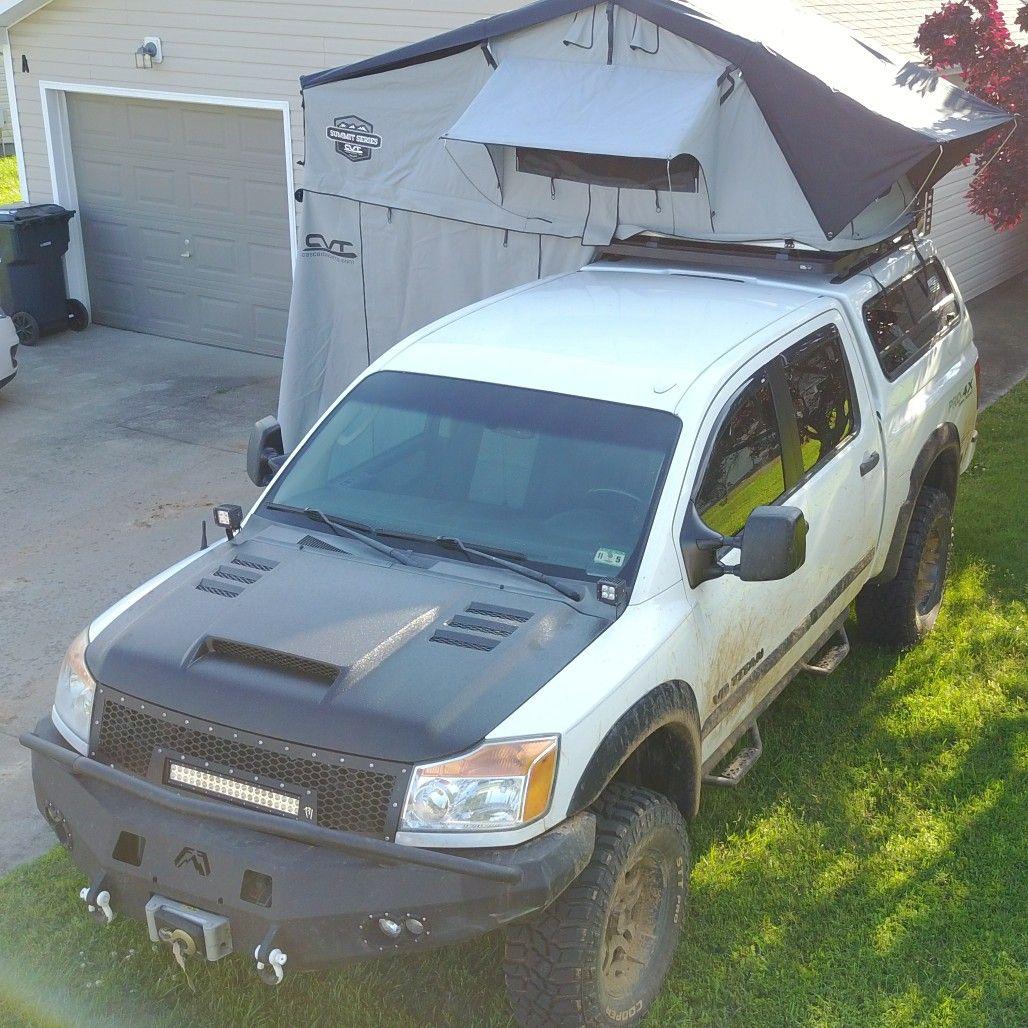 Test Fitting The RTT. 2010 Nissan Titan. Leer 100RCC, Thule Tracks,  Frontrunner